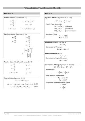 Airframe Mechanics Formula Sheet 2017-2018 - 2200MECH14