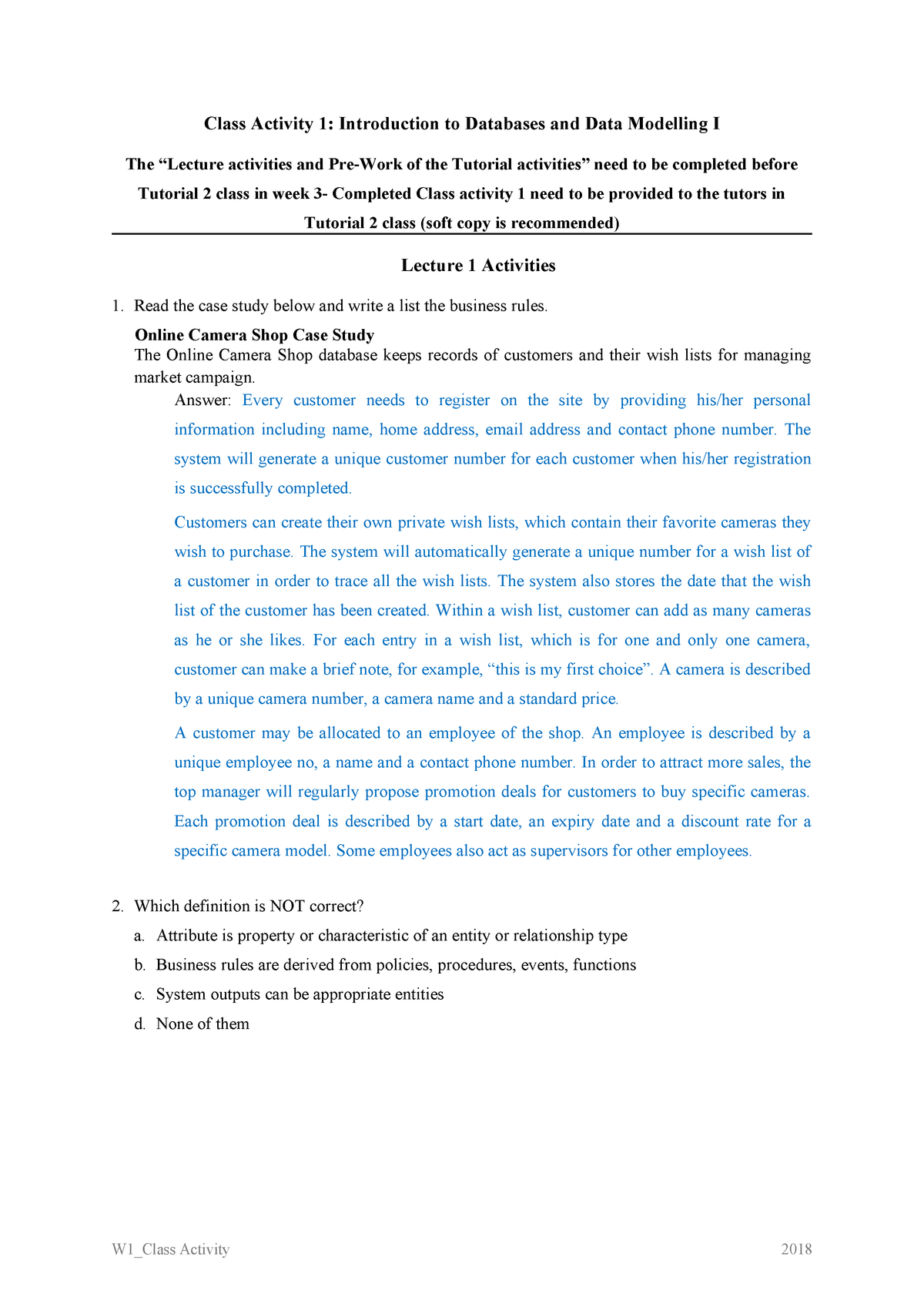 W1 Class Activity 1 Answer - 031271 Database Fundamentals