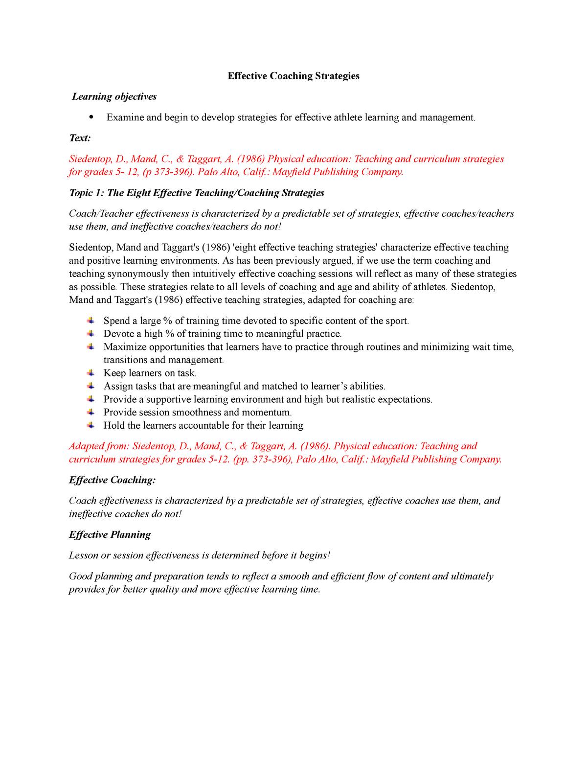 Effective Coaching Strategies Notes - SPCO101 - StuDocu