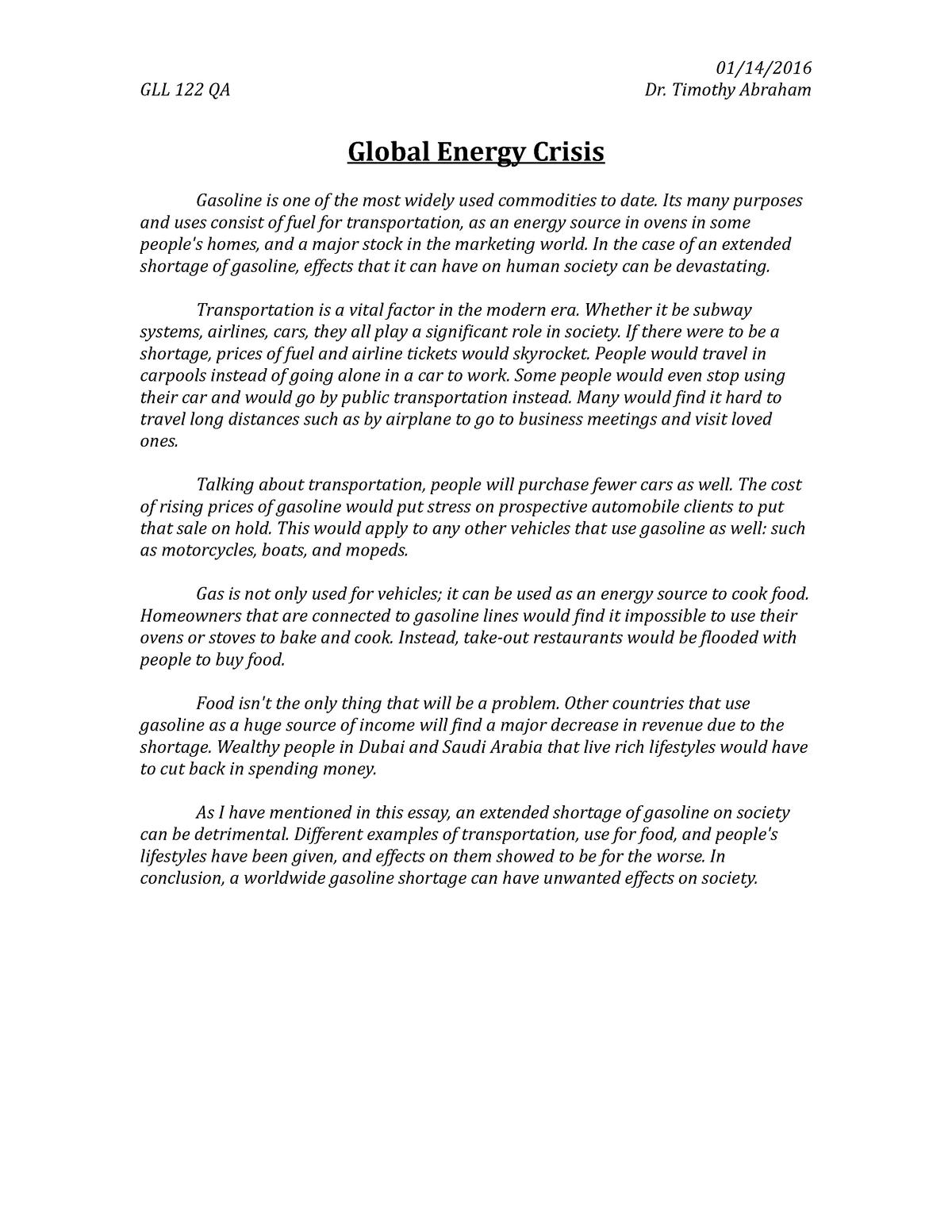 passage on energy