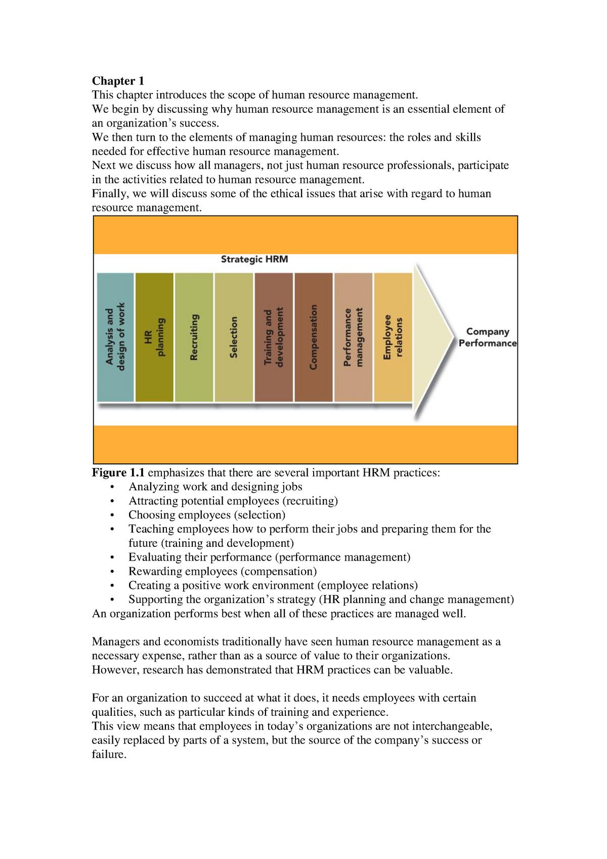 College Aantekeningen Human Resources Management Chapter 1