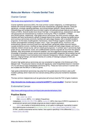 Molecular Markers Uterine Ovarian Cancers U14552 Brookes Studocu