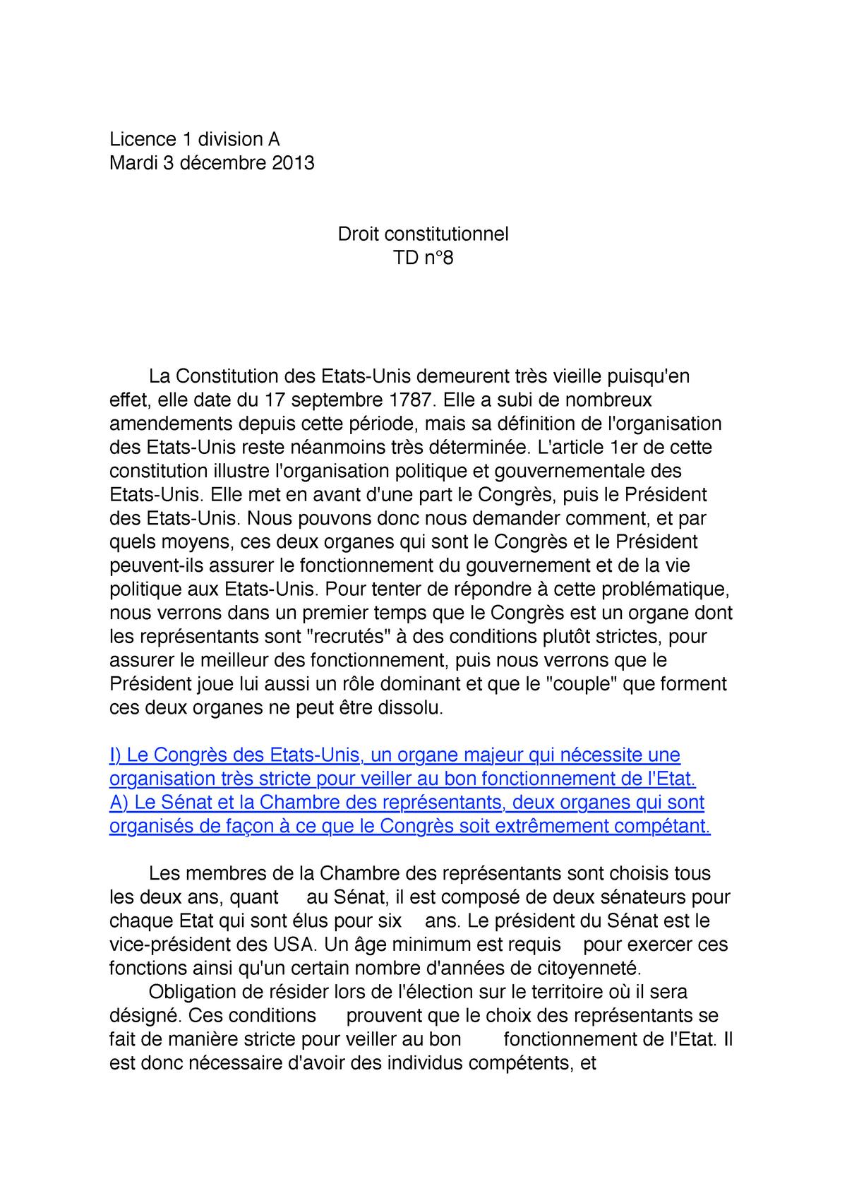 Td N 8 Droit Constitutionnel Dissertation Le Regime Presidentiel Exemple De Usa Studocu Separation Pouvoir