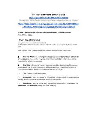 CF1 Midterm and Final Study Guide - CFI-UA 101: Cultural