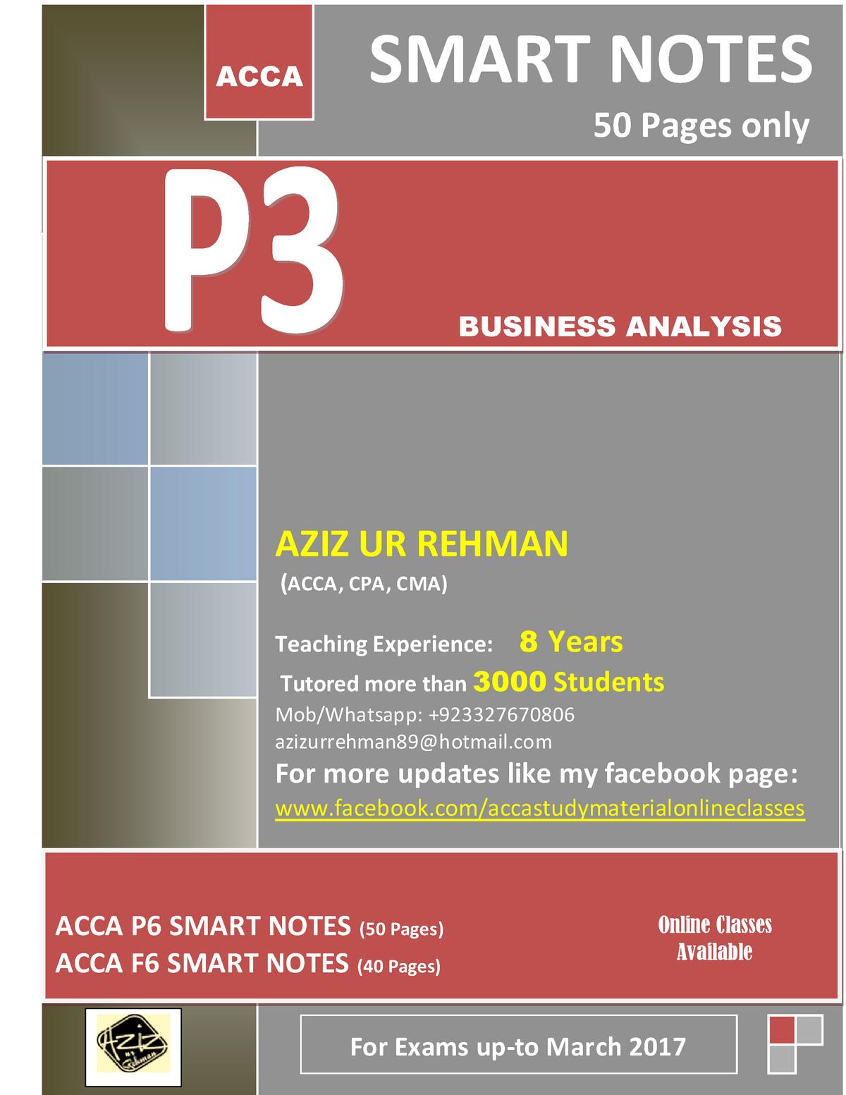 ACCA SBL Smart NOTES - Bachelor in Business BLO1105 - StuDocu