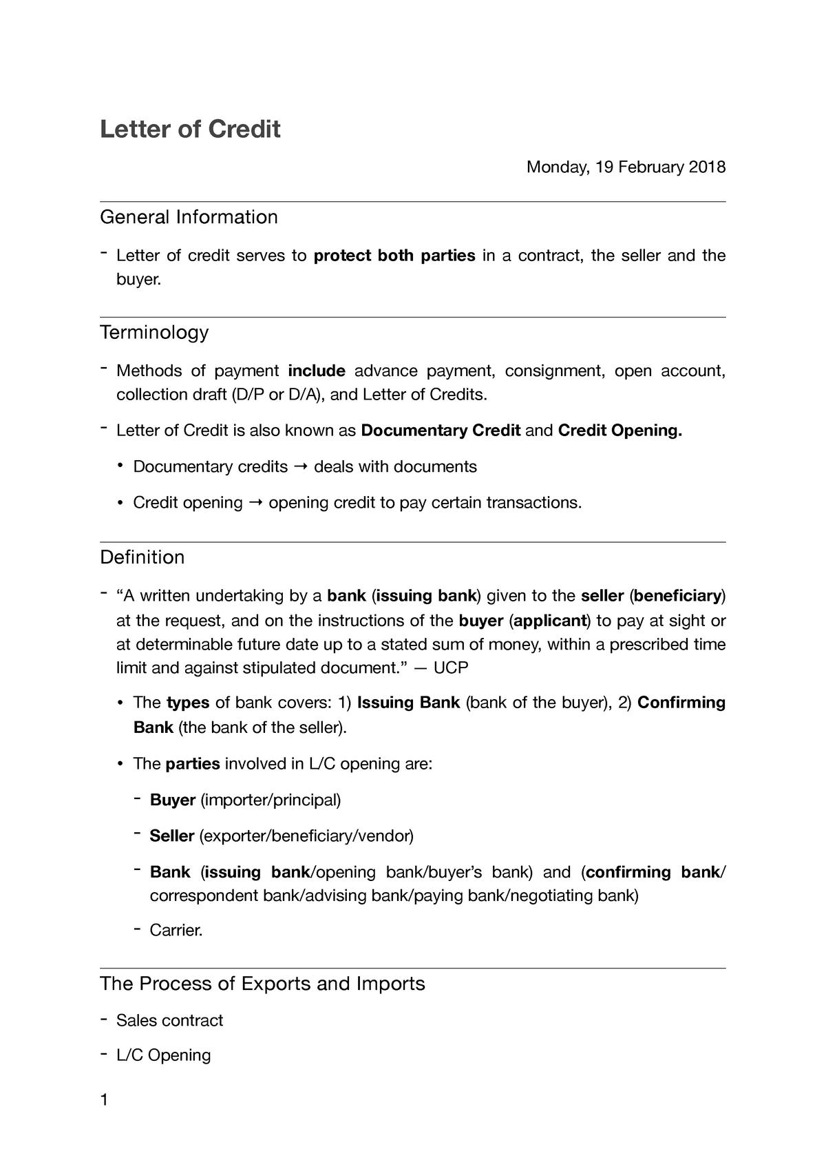 3  Letter of Credit - Lecture notes 5 - HKUI1247 - UGM - StuDocu