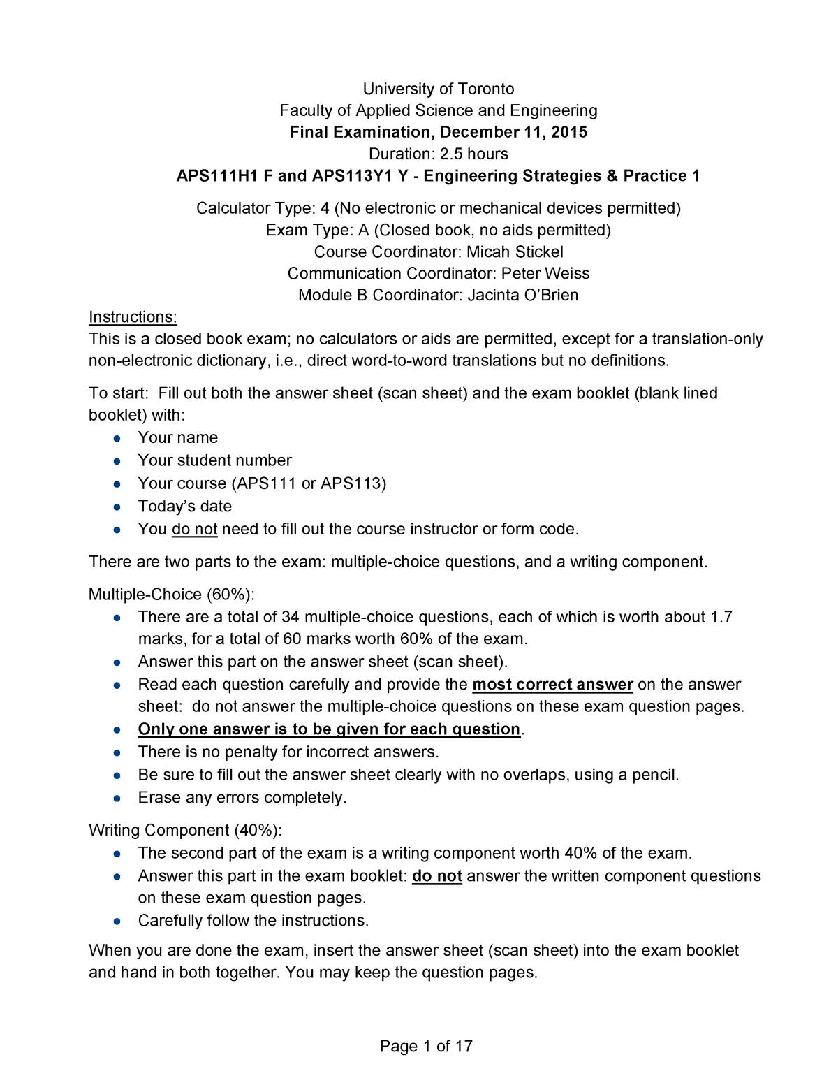 Tenta 2015 - APS111H1 :Engineering Strategies and Practice I