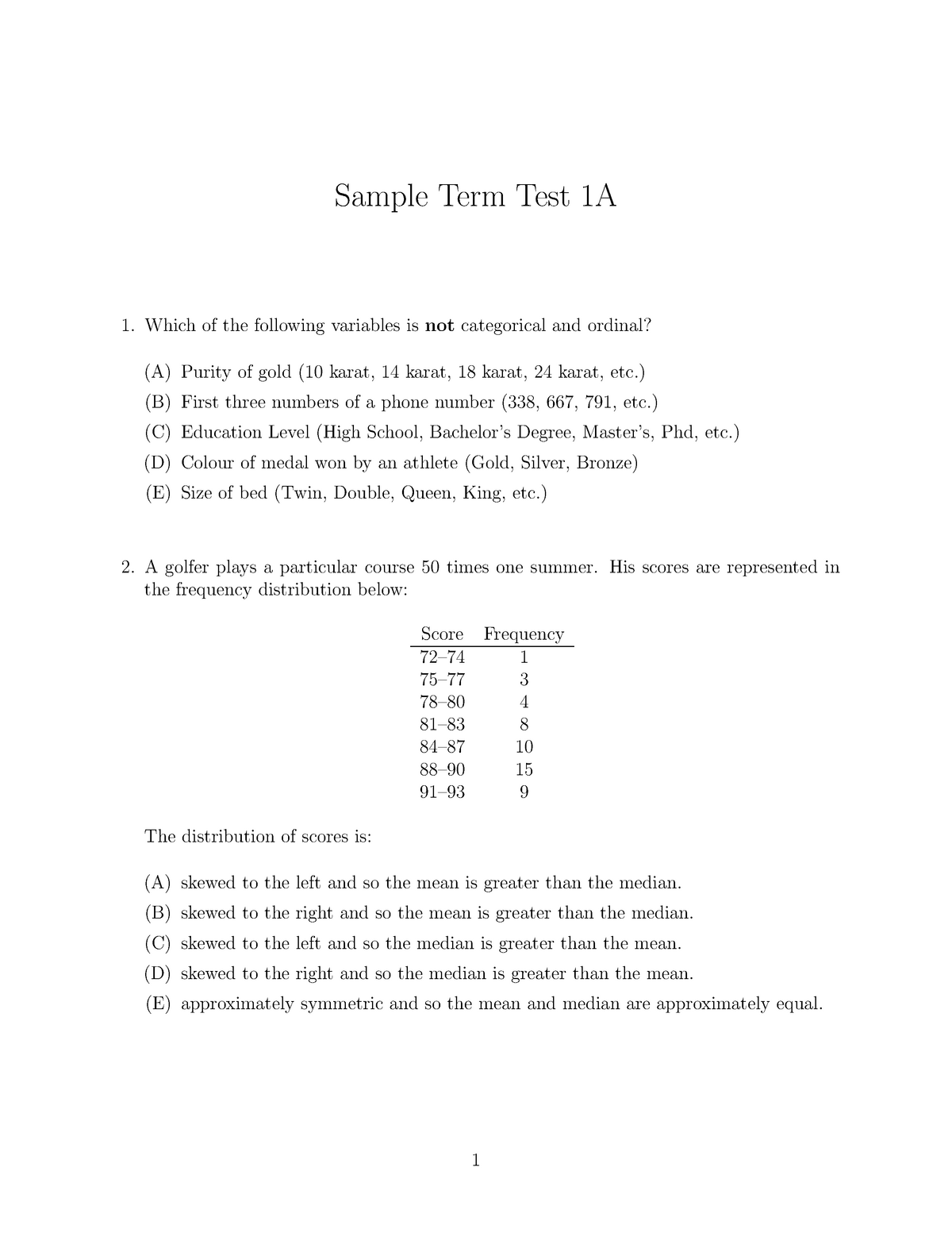 Sample/practice exam 17 October 2014, questions and answers