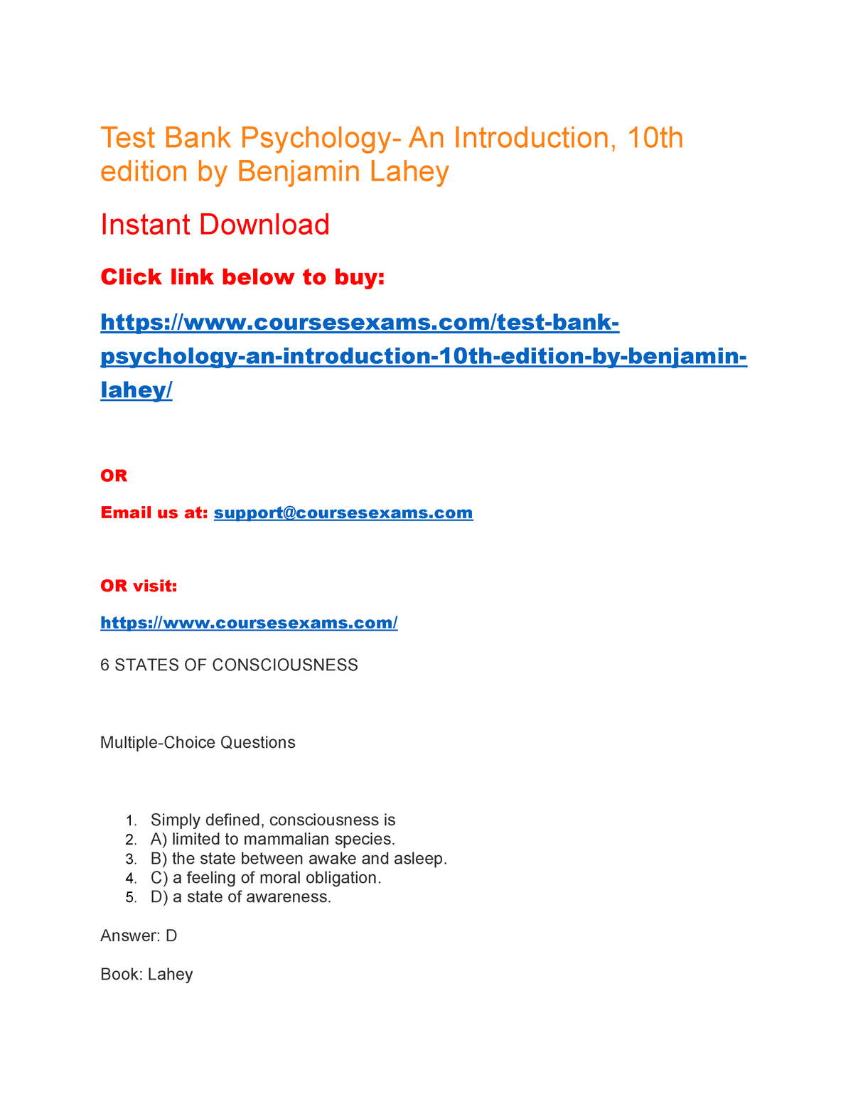 Test Bank Psychology- An Introduction, 10th edition by Benjamin