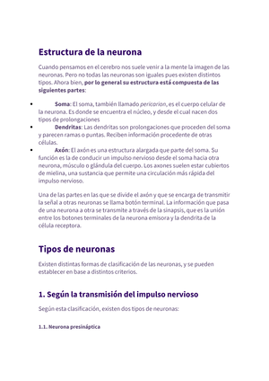 Funciones De Las Neuronas Psicologia Unemi Studocu