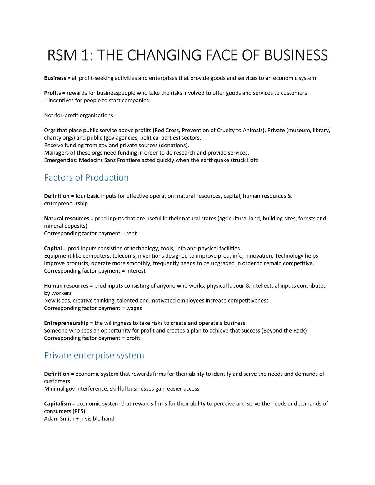 Summary Contemporary Business - Summary of Chapter 1-13 - StuDocu
