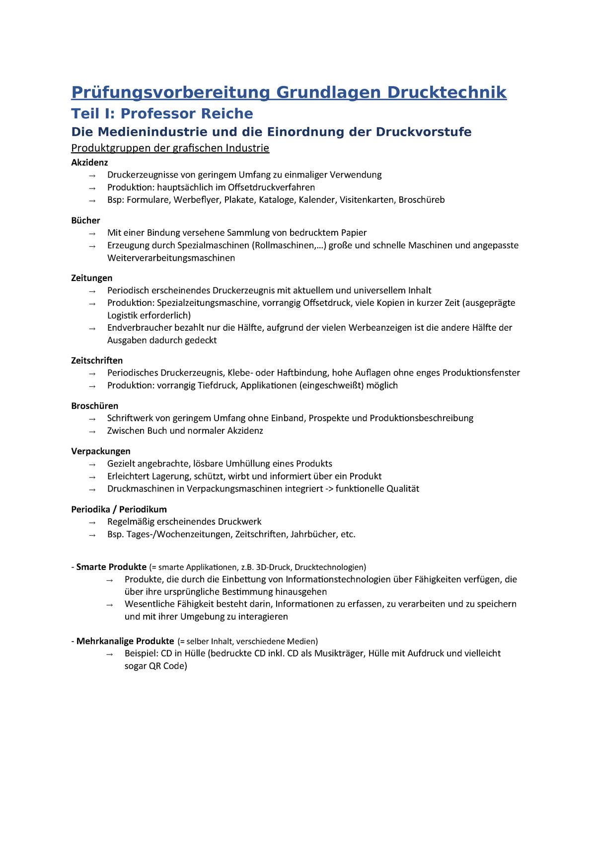 Prüfungsvorbereitung Grundlagen Drucktechnik Studocu