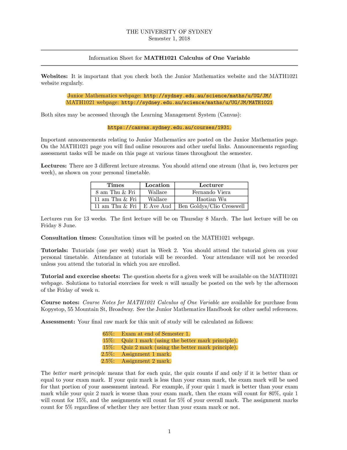 MATH1021 unit outline - Summary MATH1005 - StuDocu