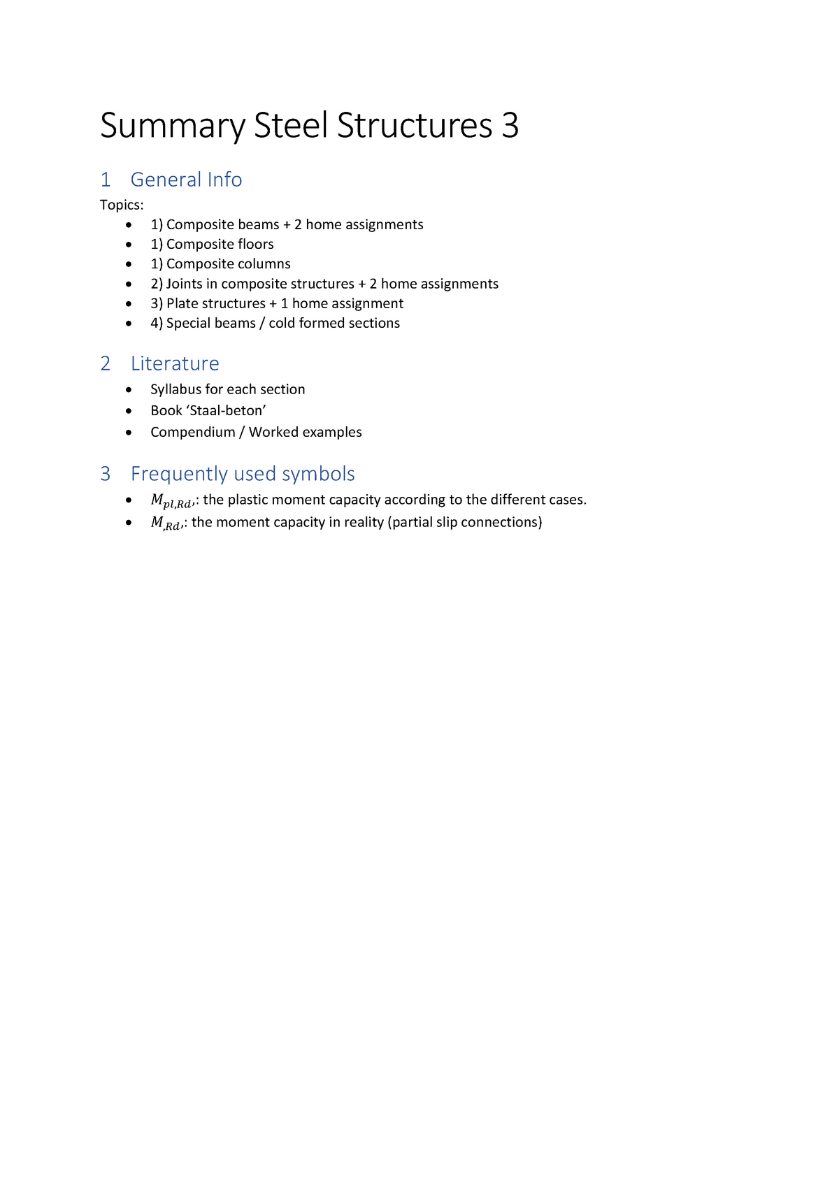 Summary Steel Structures 3 - CIE4121 - TU Delft - StudeerSnel