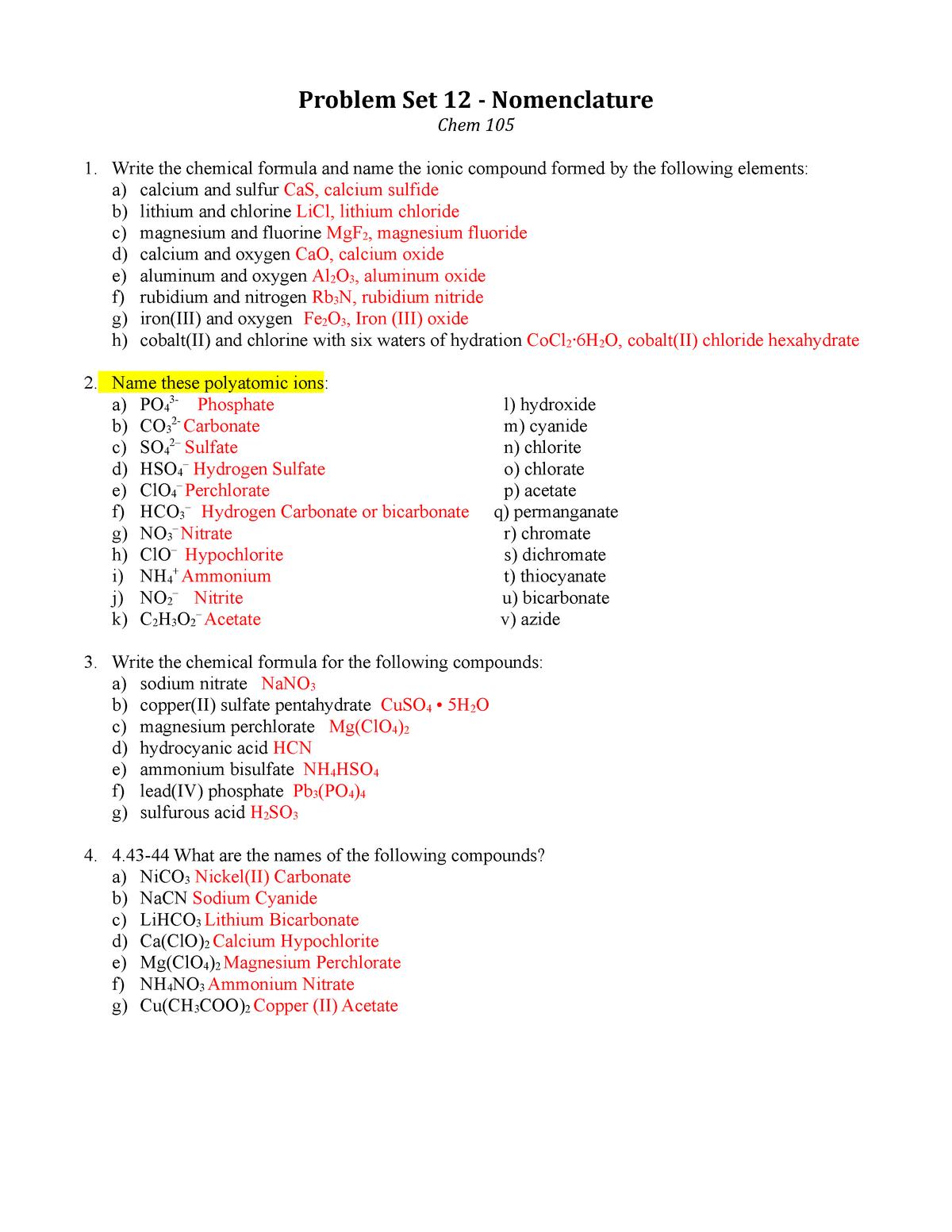 PS 12 key - Recitation - CHEM 105: General College Chemistry - StuDocu