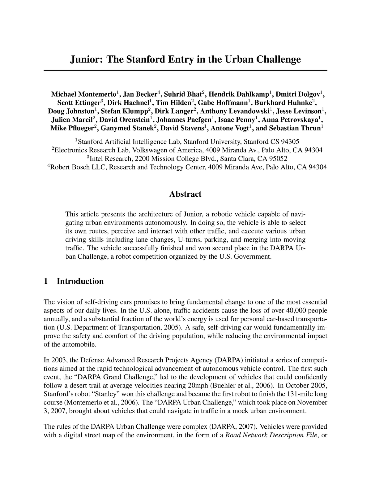 Junior the stanford entry in the urban challenge - CIS 700