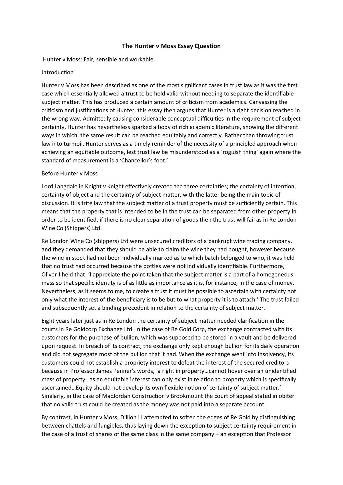 Hunter V Moss Essay - Equity and Trusts Law CL6331 - StuDocu