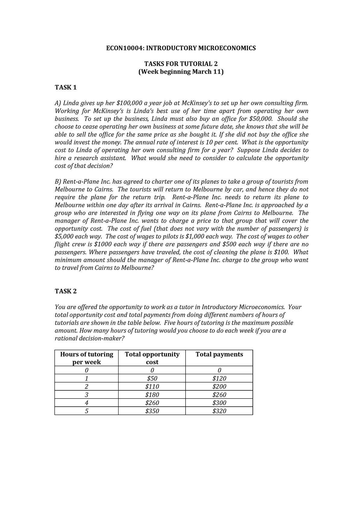 W2 in-tute - Week 2 tutorial questions - ECON10004