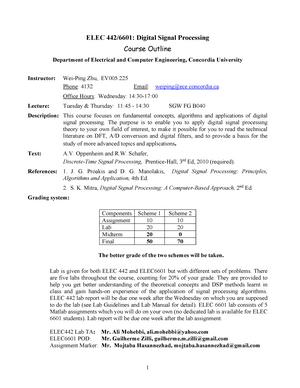 ELEC 442 & 6601 outline - Summary Digital Signal Processing