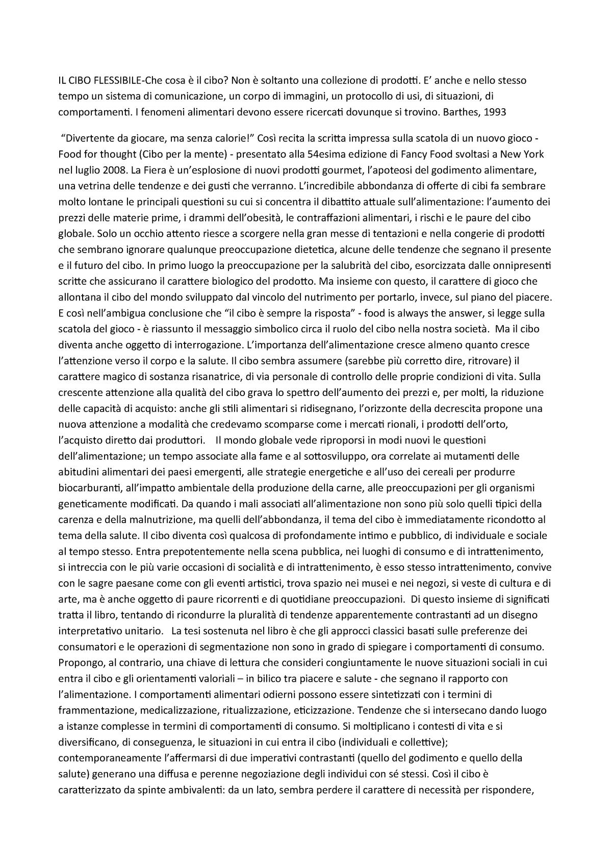 Il Cibo Flessibile Sociologia Del Benessere Uniurb Studocu