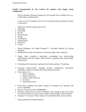 Lecture notes, lectures 1-12 - Transport and freight logistics