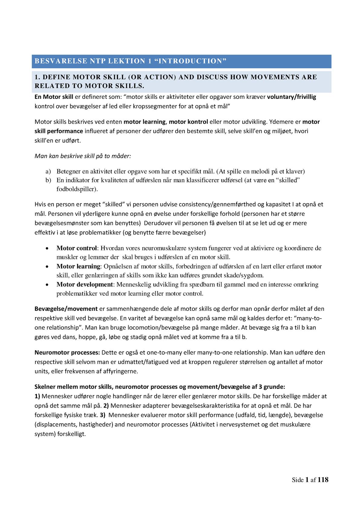 bbcde9ad Neuro-eksamen - Samlet noter til alt omkring eksamen. - Neurofysiologi i  teori og praksis - StuDocu