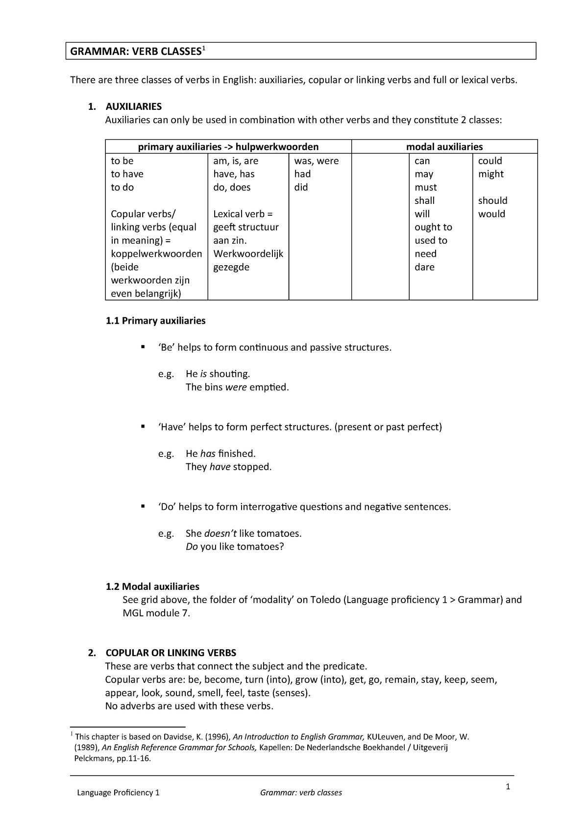 Verbclasses - Extra handouts - Engels 1 YB0211 - Thomas More
