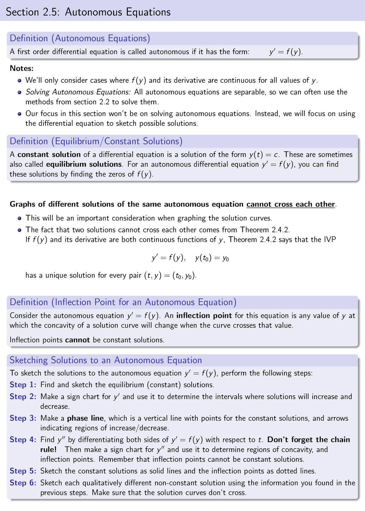 2 5 Autonomous Equations - APMA 2130: Ordinary Differential