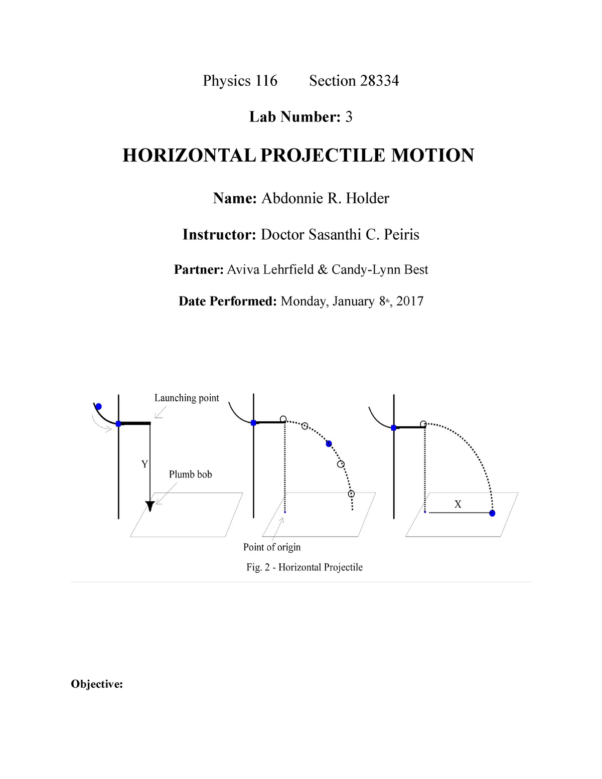 116 horizontal projectile motion - PHY 116 Physics I - CSI