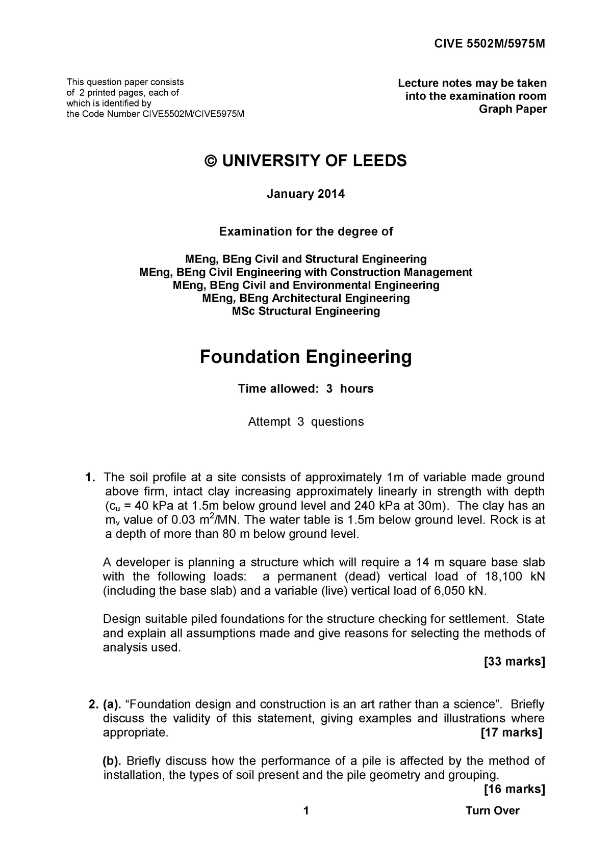 Exam 2014 - CIVE5502M: Foundation Engineering - Meng - StuDocu