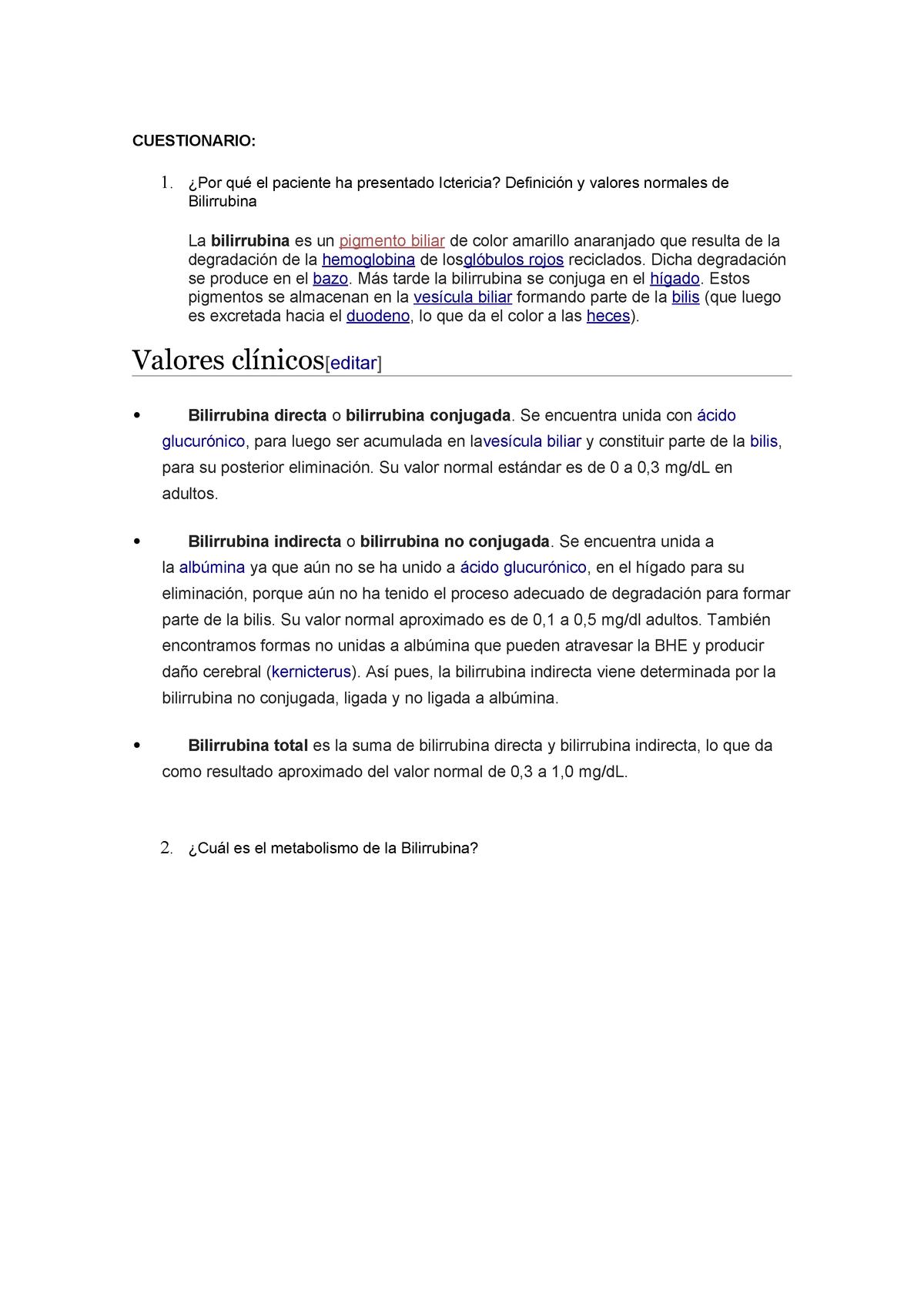 Cuestionario Bilirrubina Patología I 101314 Usmp Studocu