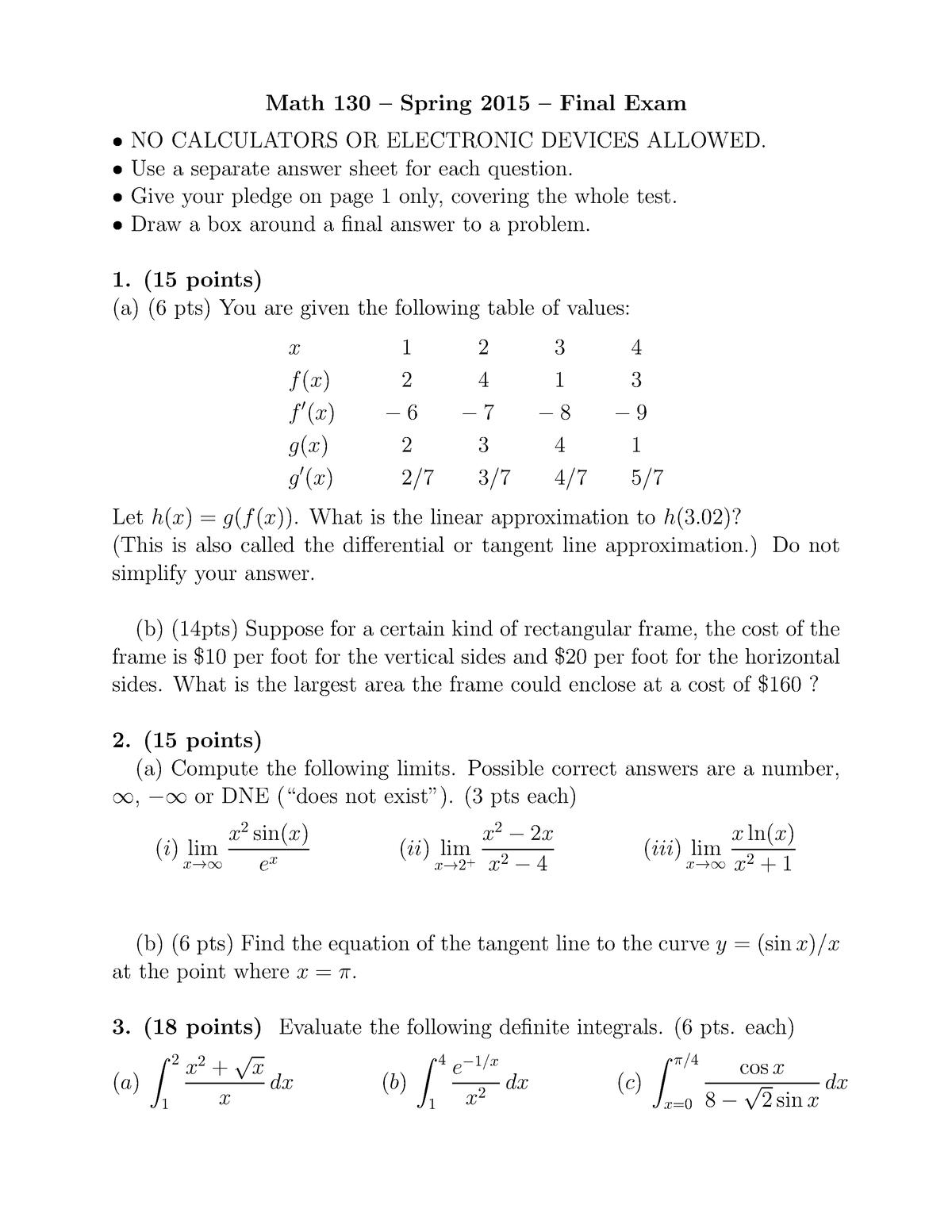 Examen 2015 - MATH130: Calculus for Life Science I - StuDocu