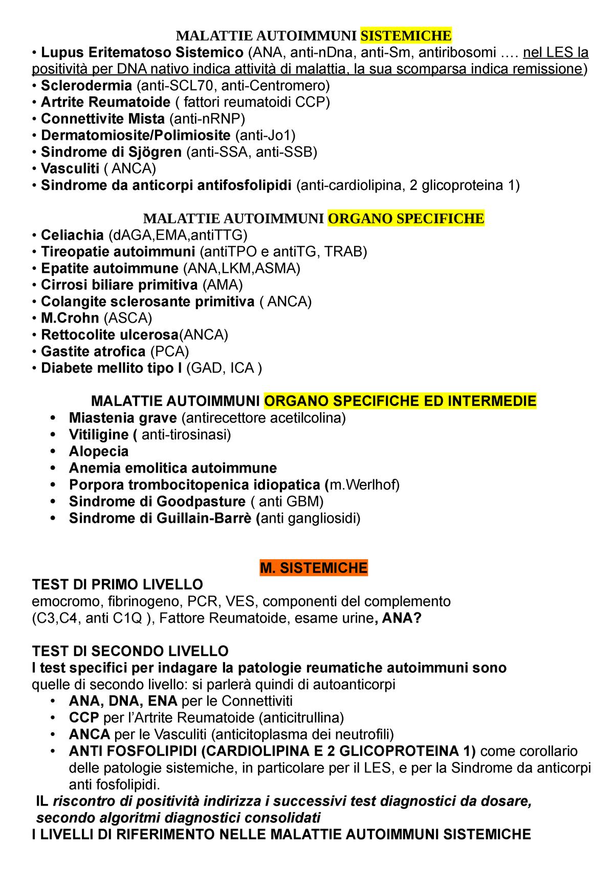 Sinossi Malattie Autoimmuni Sistemiche - Medicina Interna