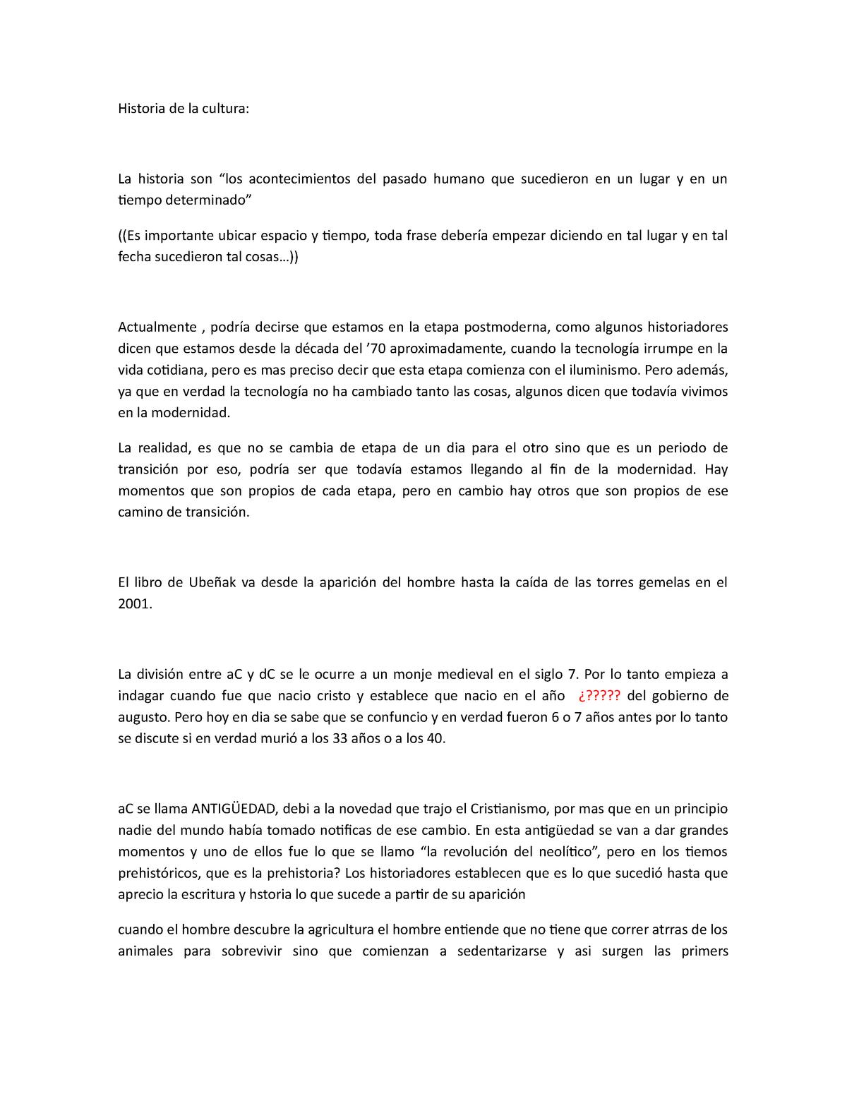 Historia De La Cultura Resumen Del Libro De Ubeñak Studocu