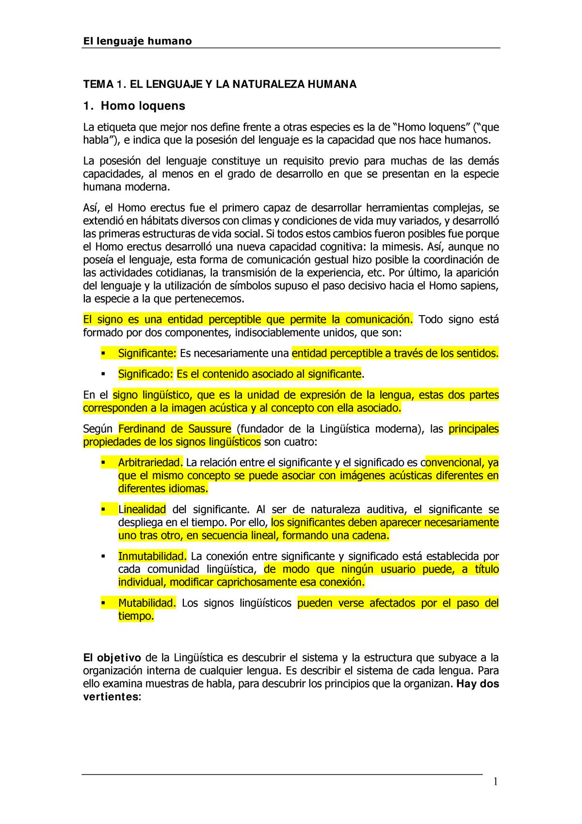 Actual Lhumano Resumen El Lenguaje Humano 64901019 Uned