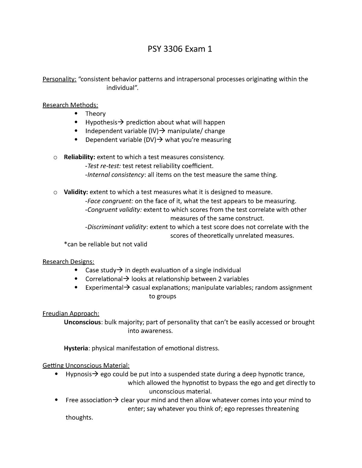 PSY 3306 Exam 1 - PSY 3306: Personality - StuDocu