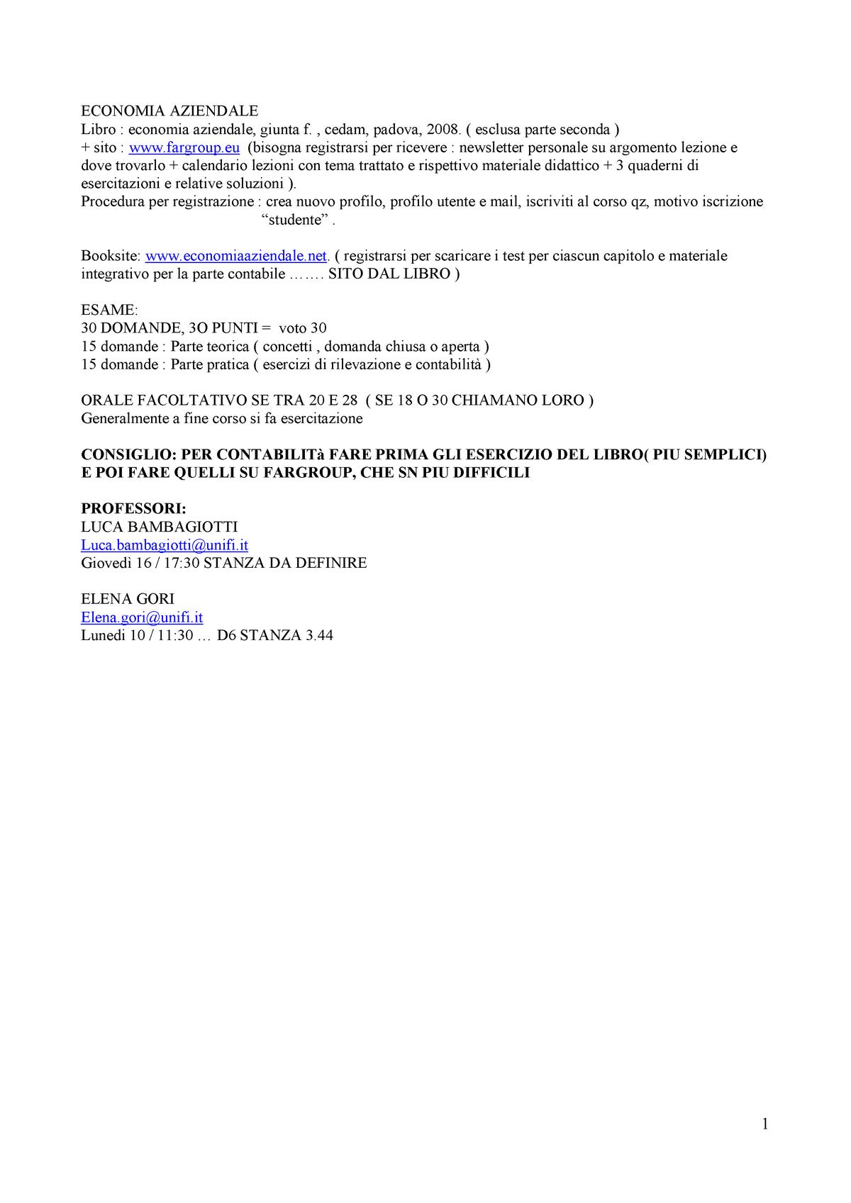 Calendario Unifi Economia.Economia Aziendale Schema Del Libro Integrato Con Appunti