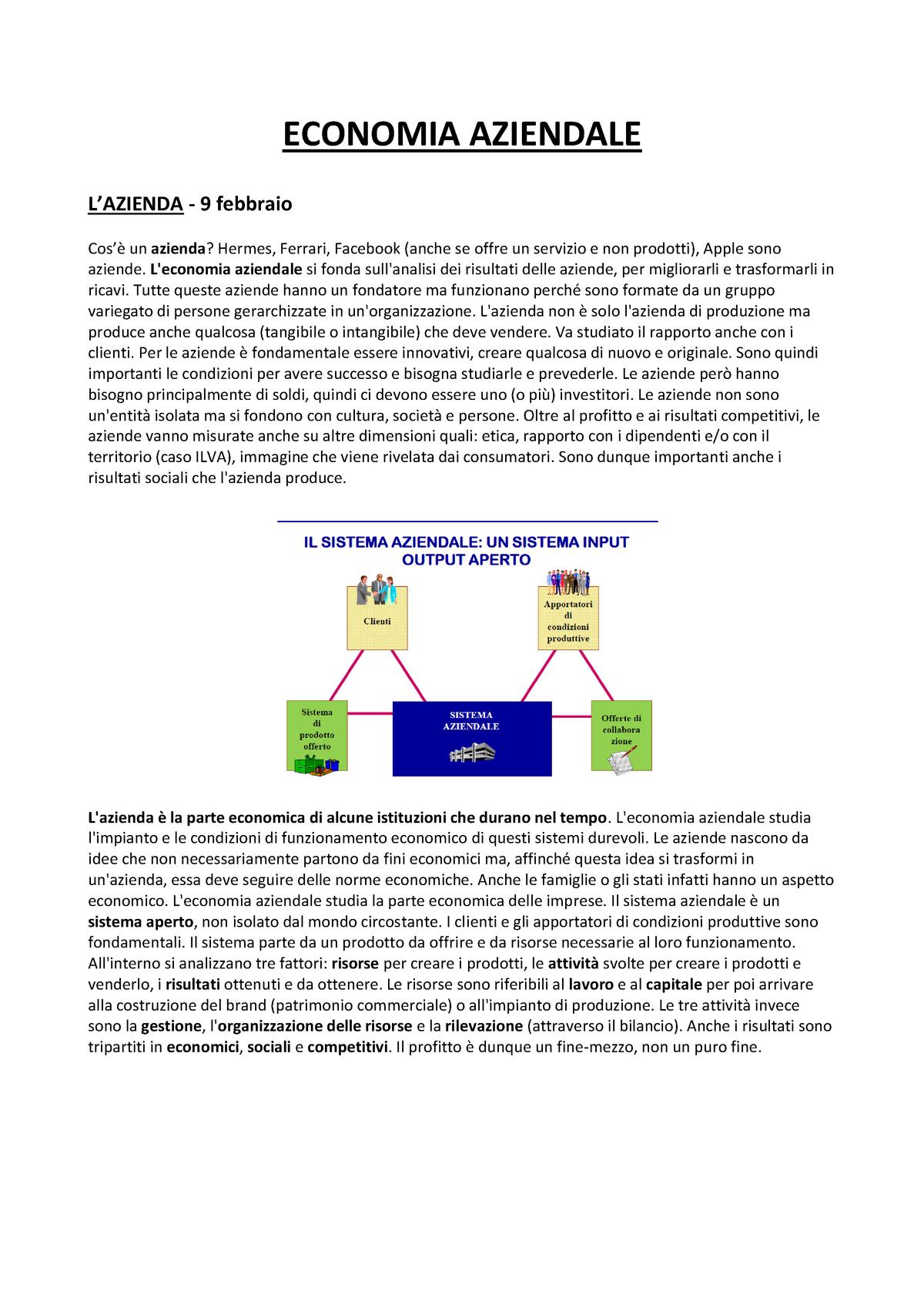 Appunti Economia aziendale IULM StuDocu
