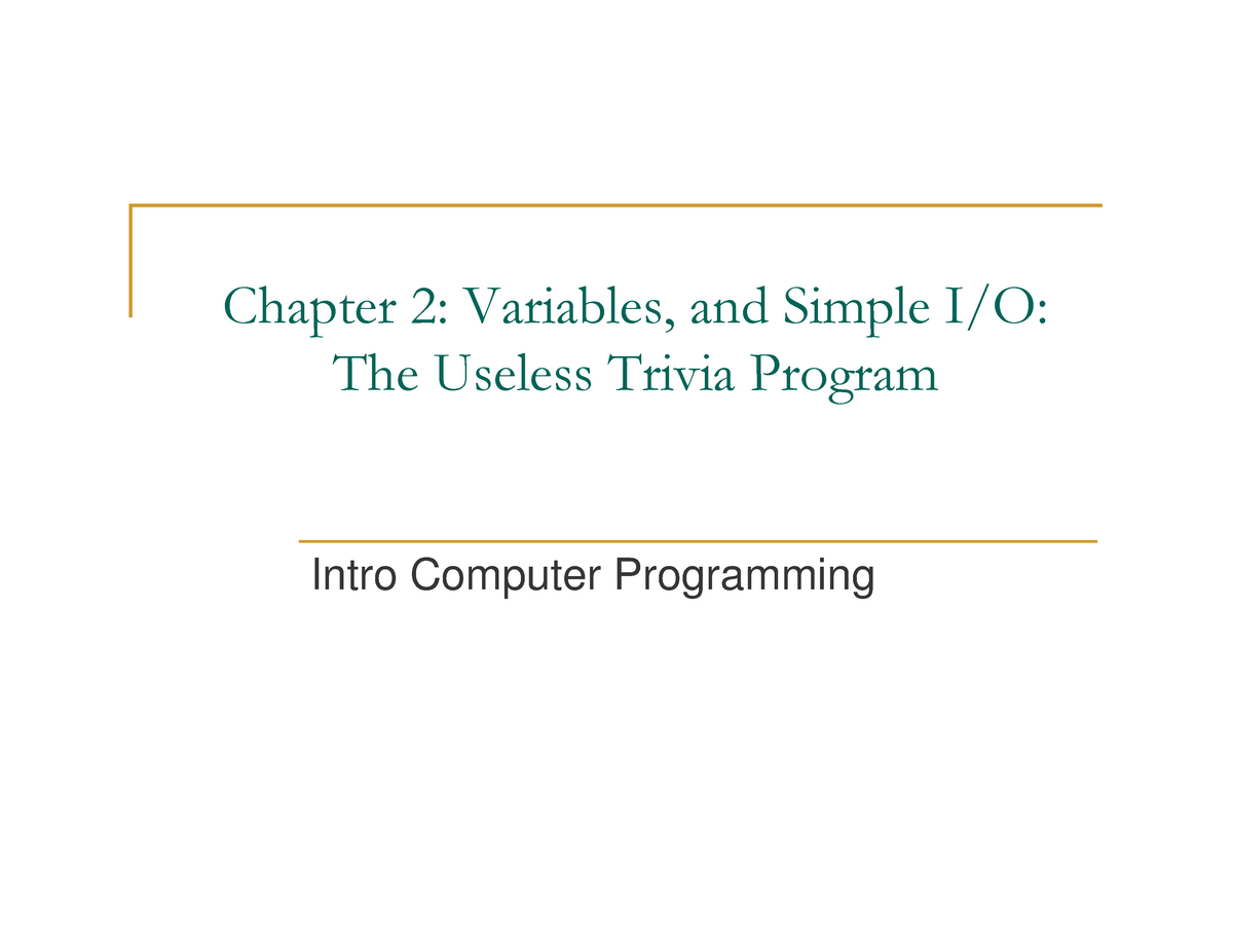 Chap02 - Lecture notes Chapter 2 - CS 10061: Introduction To