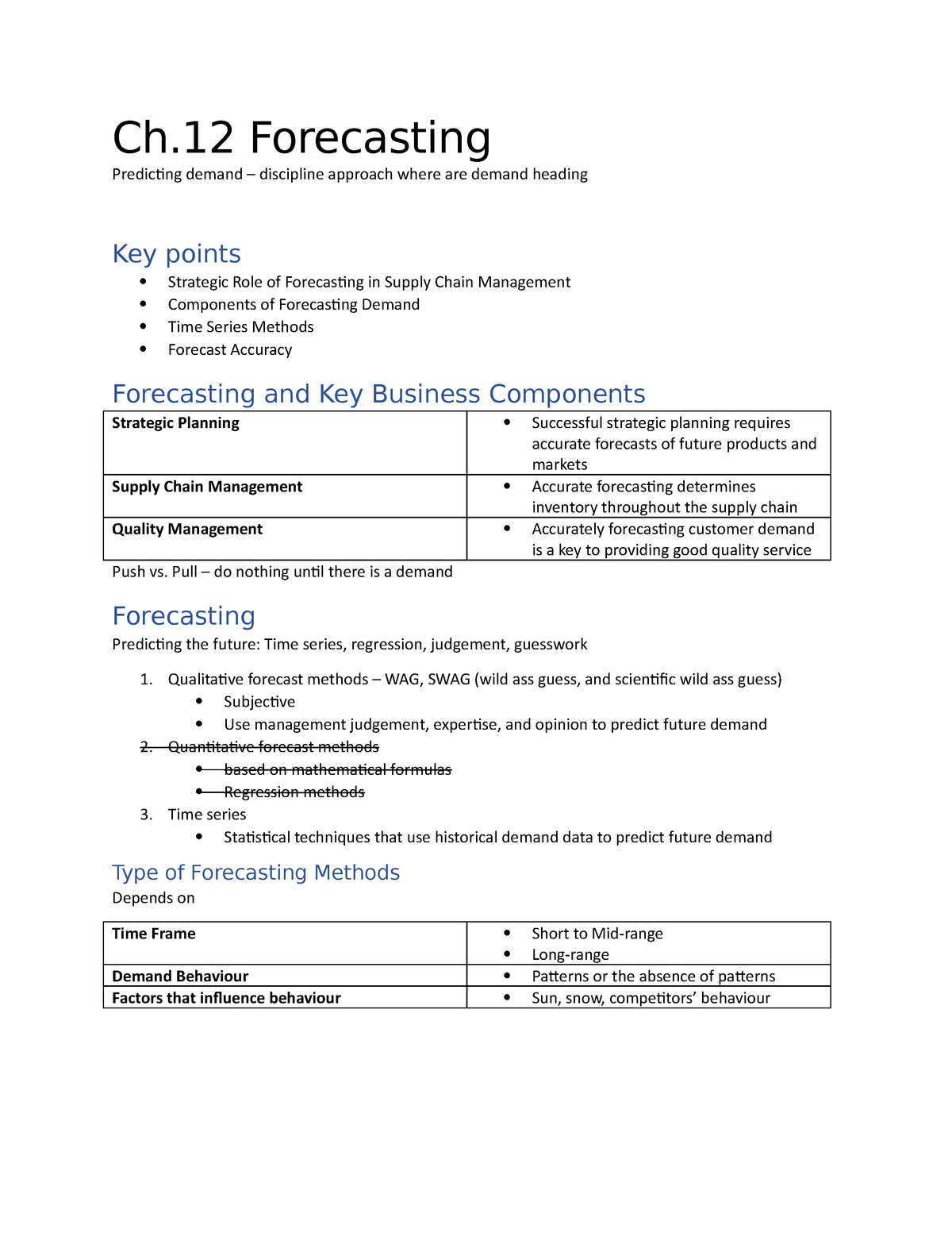 OPMT 1103 - W10 F Notes - Ch  12 Forecasting - OPMT 1103
