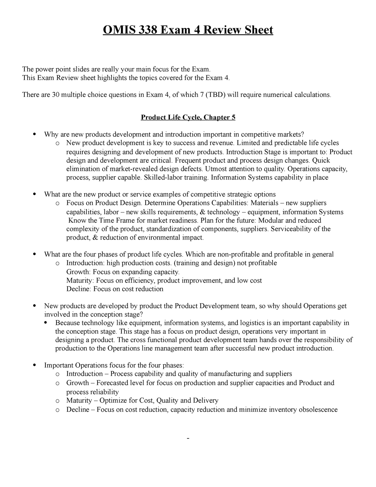 Exam 4 Review Sheet - Study guide detailed answers to exam 4