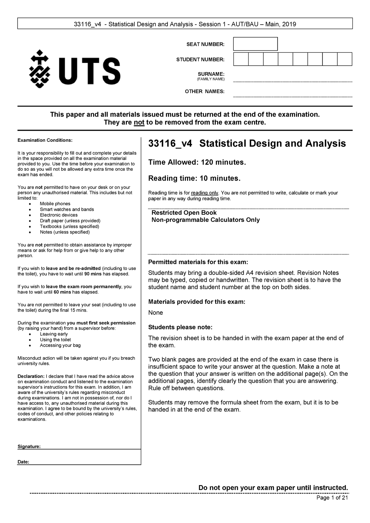 Statistical Design and Analysis  2019 AU Main v7 Front and Back