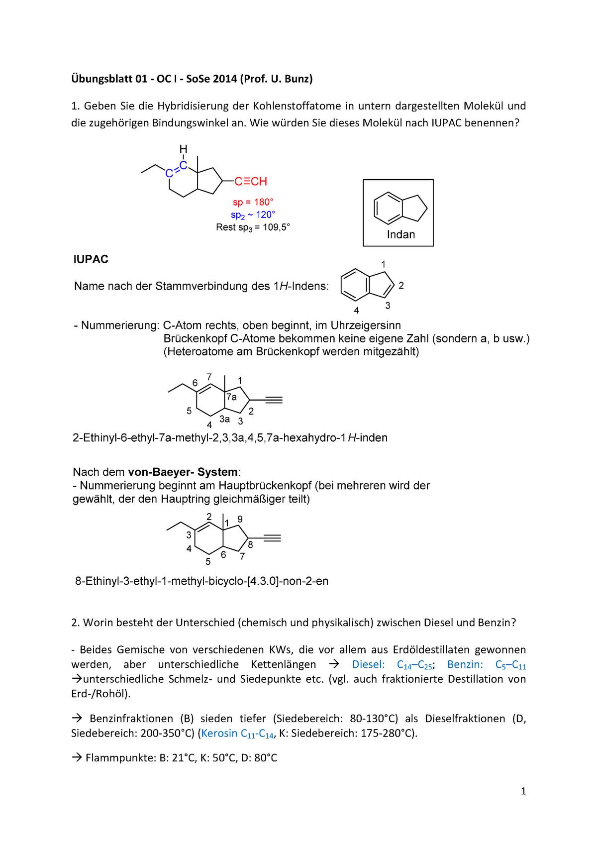 übungen übungsblatt 1 Lösung Organische Chemie 0000