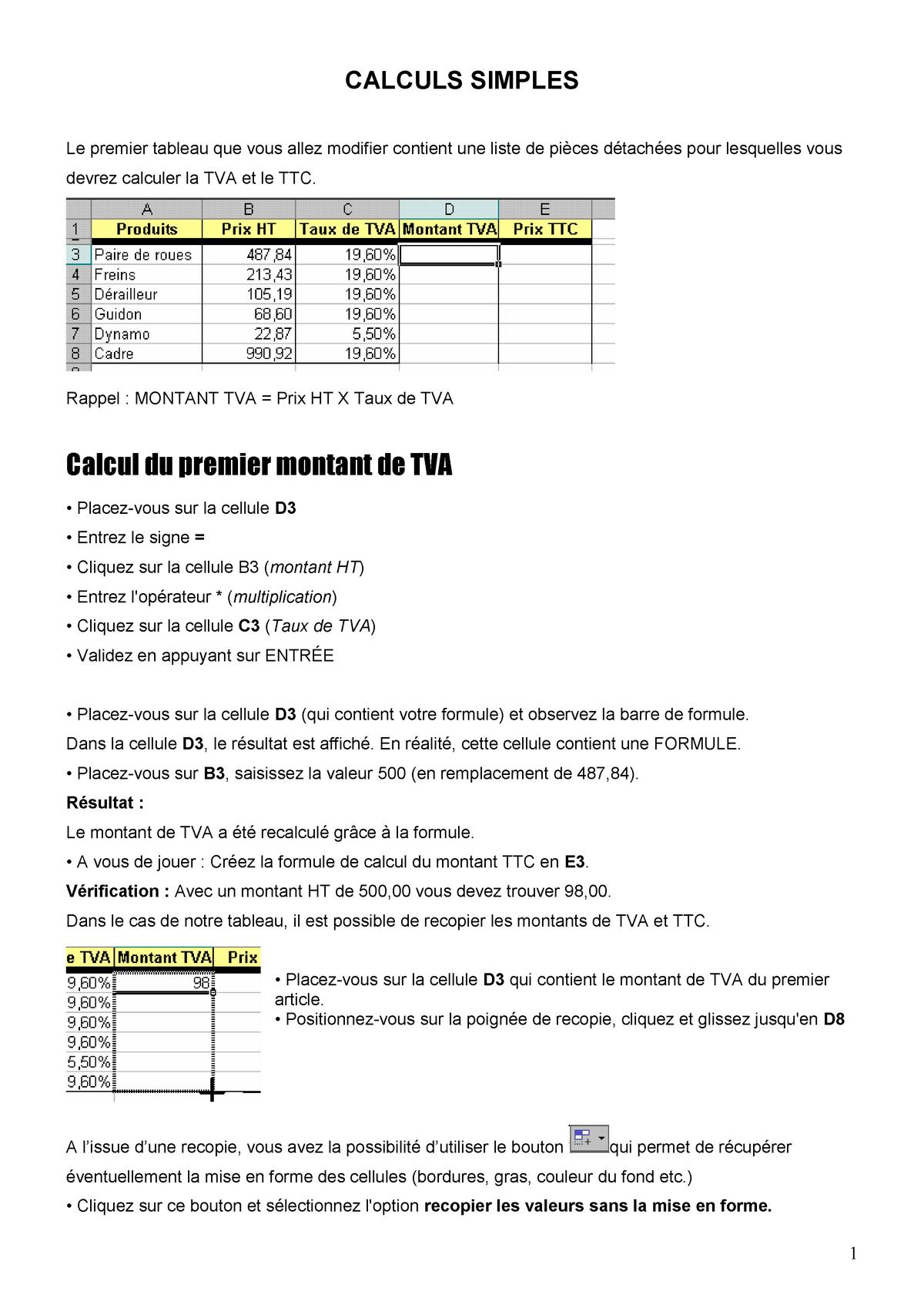 02 Calculs Simples Préparation C2i Université Paris 8