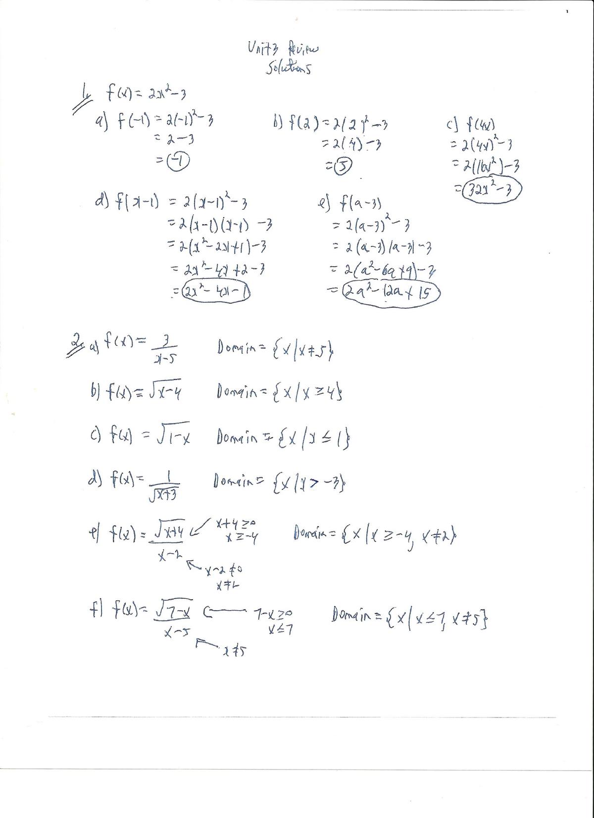 Unit 3 Functions - Answers - MA1101: Math 1101 - StuDocu