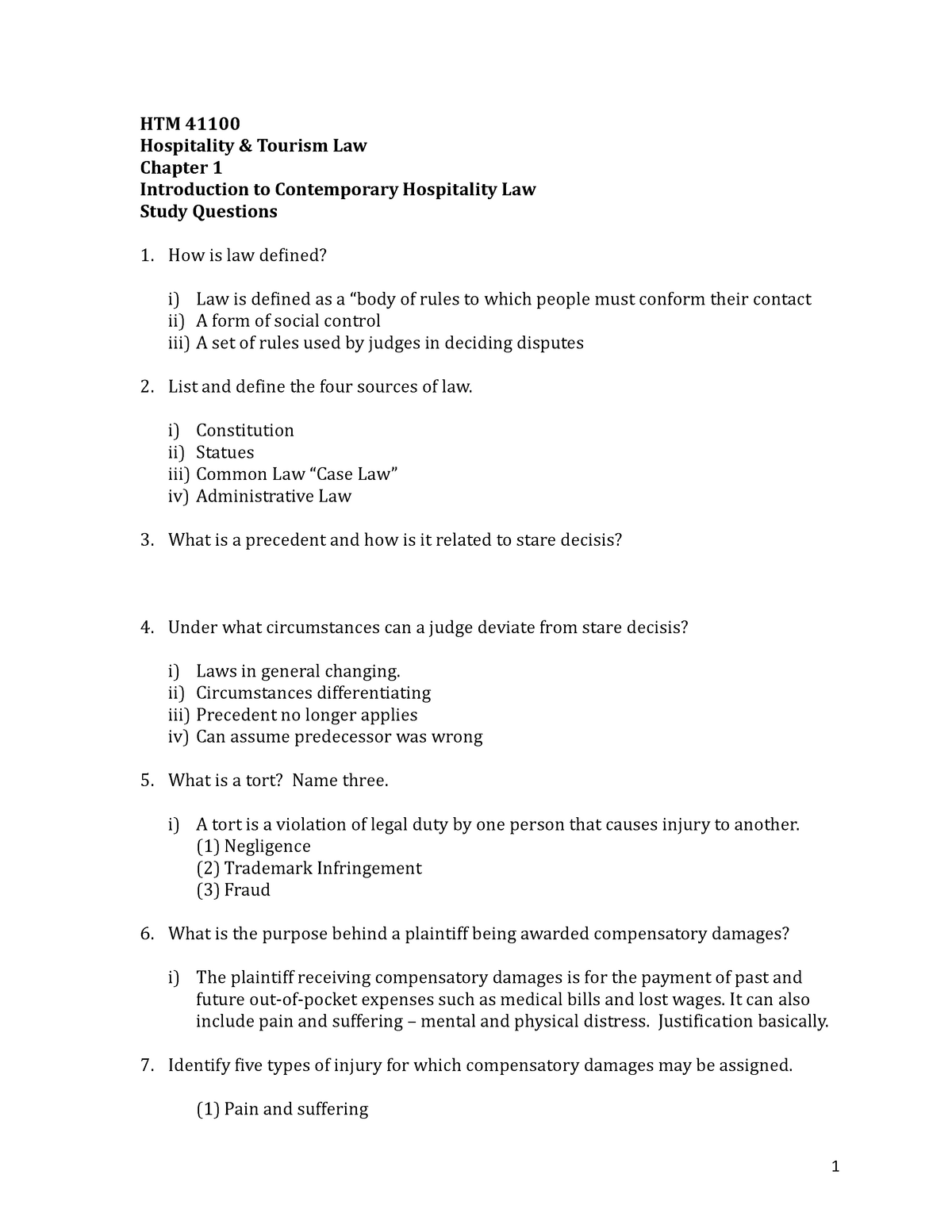 Study Questions - Chapter 1 - Introduction To Contemporary