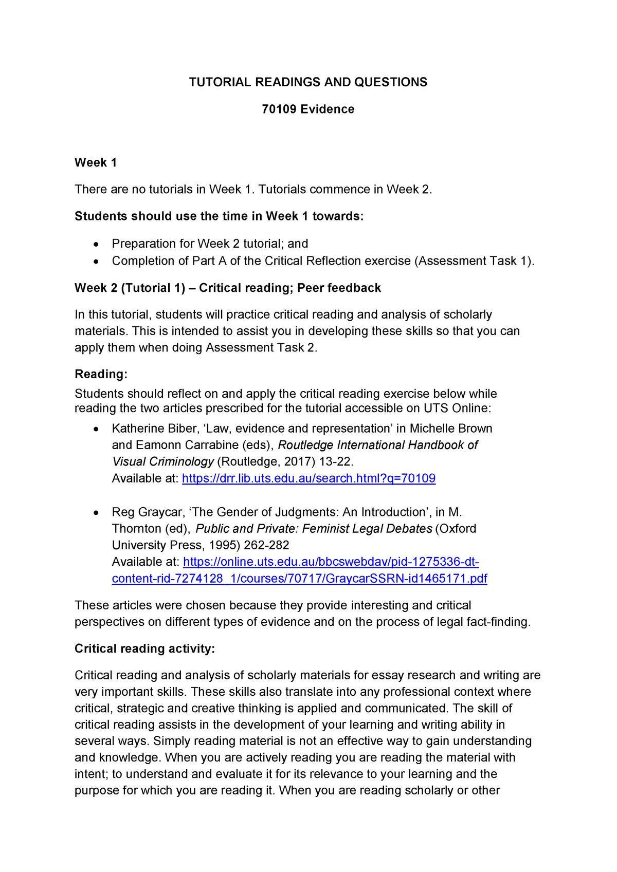 Student Tutorial Materials - 070109 Evidence - UTS - StuDocu