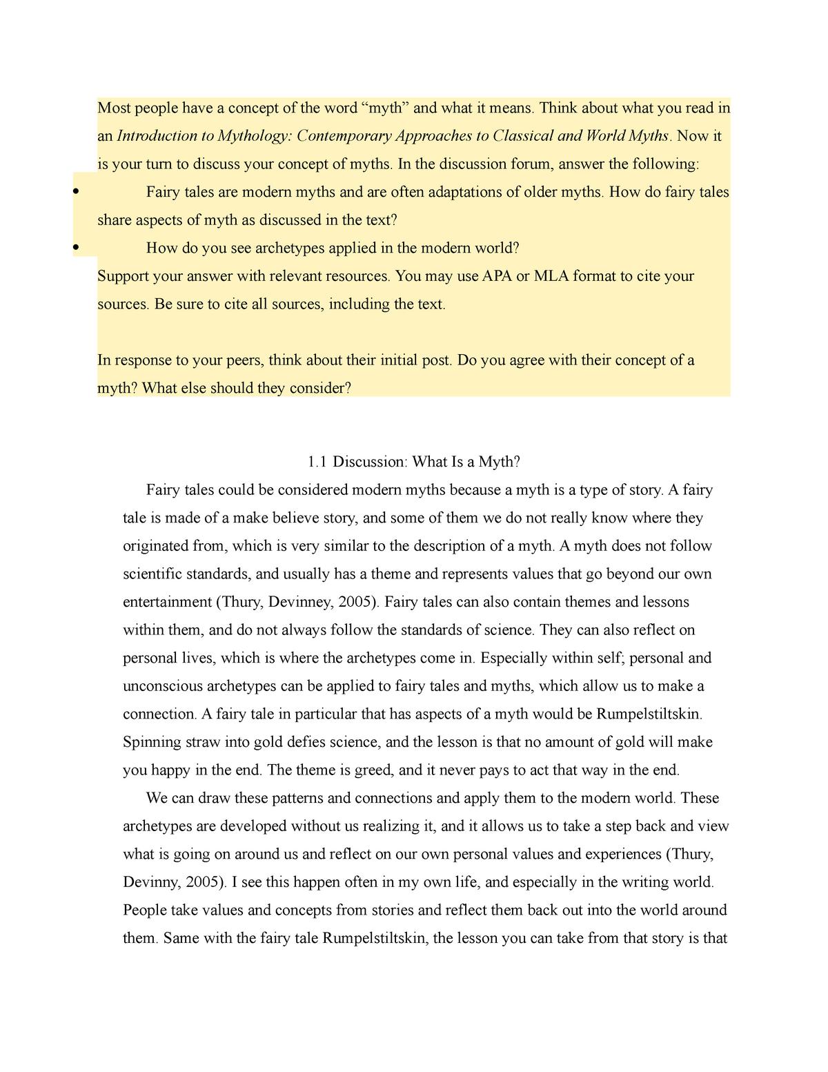 1-1 Discussion What Is a Myth - LIT229: World Mythology - StuDocu