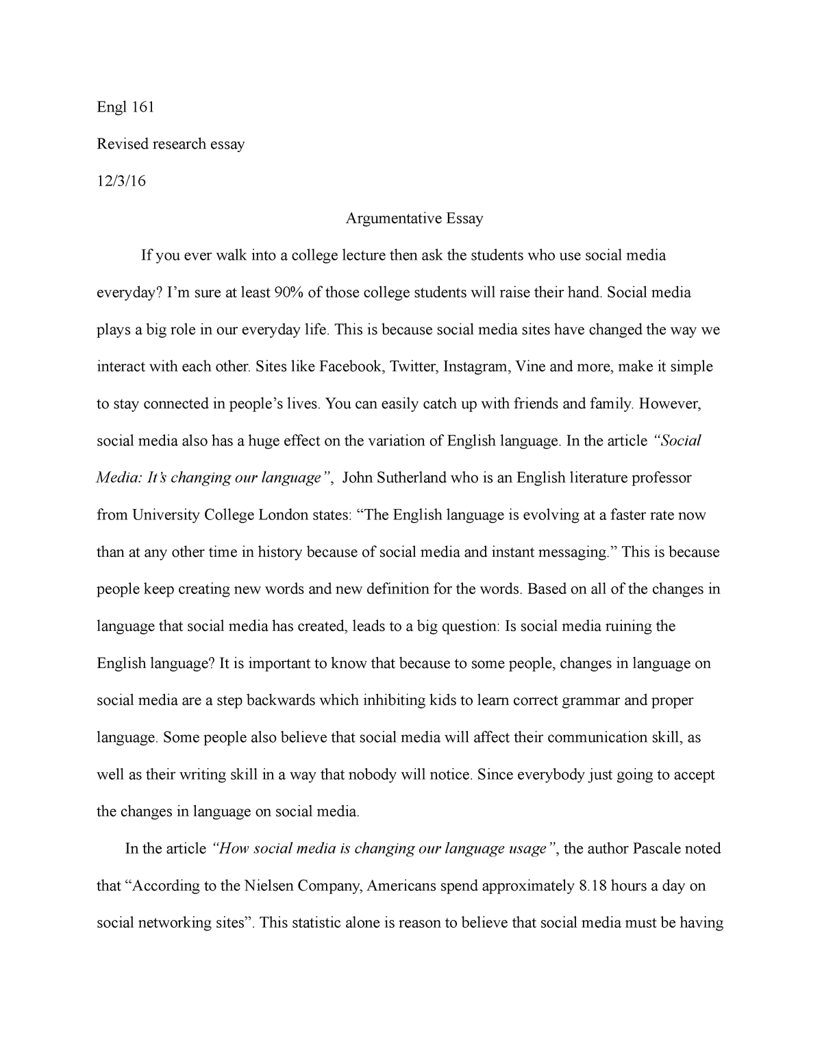 What Is A Thesis In An Essay  Proposal Essay Topics Ideas also Essays On The Yellow Wallpaper Essay Social Media Is Not Good For Teenagers Argumentative  The Yellow Wallpaper Essay Topics