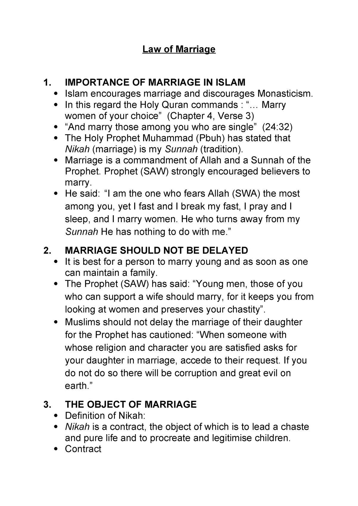 Law of Marriage - Islamic Law - Legal Diversity LAWS3LDH1
